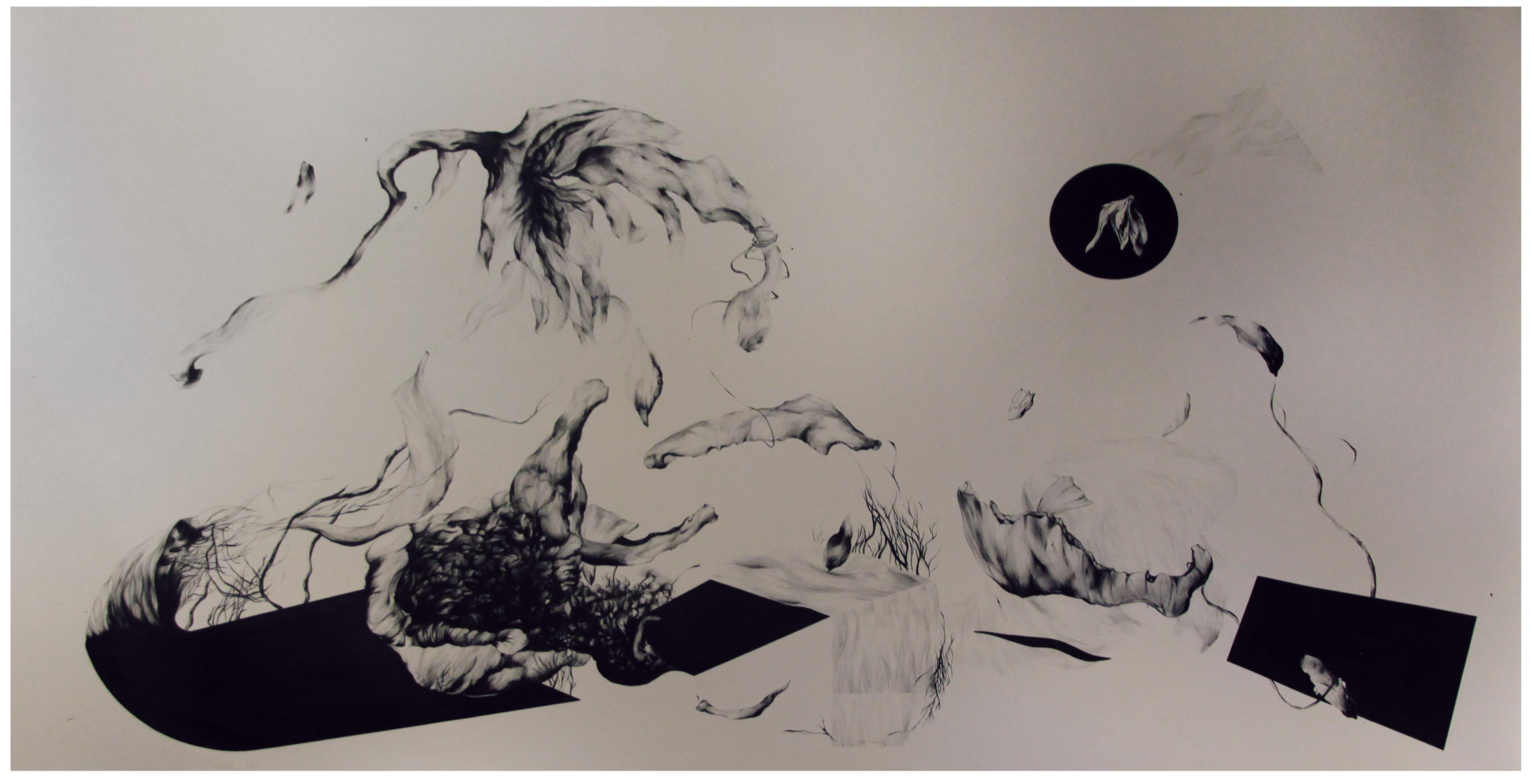 Yosra Mojtahedi/les fleurs du printemps , jouissant à la naissance d'un merle noir / Encre sur papier / 244x140cm/2020