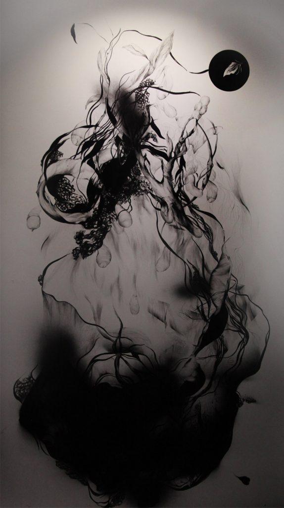 Yosra Mojtahedi/ Arbénus / 250 x 140 cm / Encre sur papier / 2020